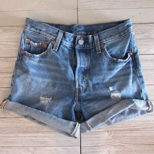Levis 501 Shorts High Rise W25 Button Fly Distress